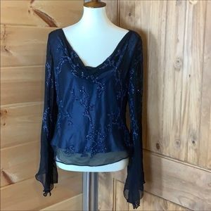 Scala blue silk top with beaded detail Siz…